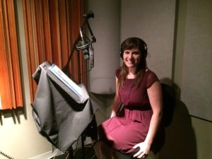 Narcolepsy spokesperson and Project Sleep founder Julie Flygare records voice-over for Honda's narcolepsy PSA (JPEG)