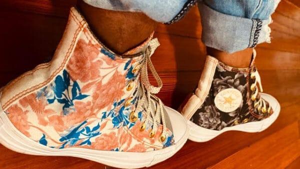 Sakhara Johnson wearing custom designed Chuck Taylors
