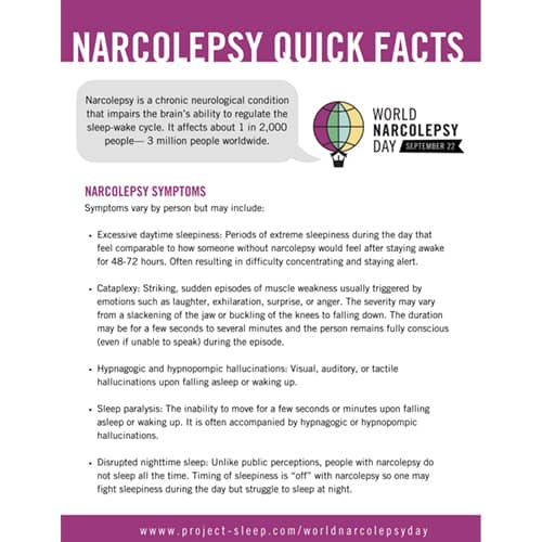 narcolepsy quick facts